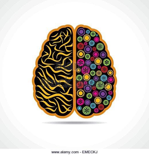 Konzeptionelle Idee Silhouette Bild des Gehirns mit Getriebe Stockbild