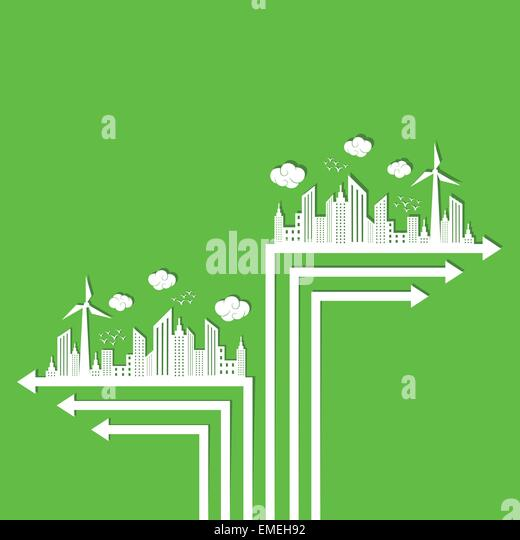 Ökologie-Konzept mit Pfeil Stockbild