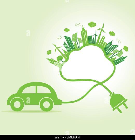 Ökologie-Konzept mit Öko-Auto und cloud Stockbild