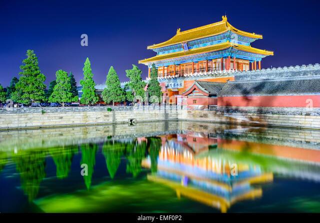 Peking, China am Tor der göttlichen könnte, das nördliche Tor der verbotenen Stadt. (Obere Tablet Stockbild