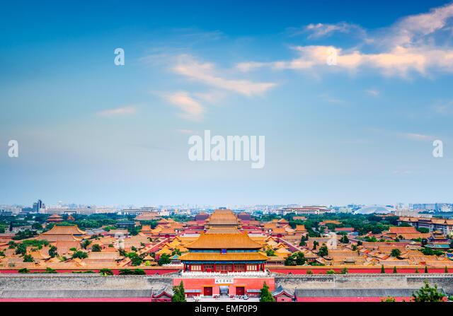 Peking, China mit Blick auf die Verbotene Stadt. Stockbild
