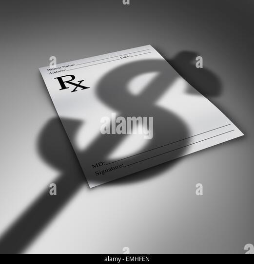 Krise im Gesundheitswesen Kosten oder Kosten im Gesundheitswesen-Konzept als Arzt Rezept Papier mit den Schlagschatten Stockbild