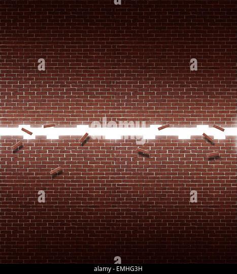Offene Wand Geschäftskonzept Erfolg mit einer glühenden Öffnung Ziegel-Struktur als ein Symbol der Stockbild