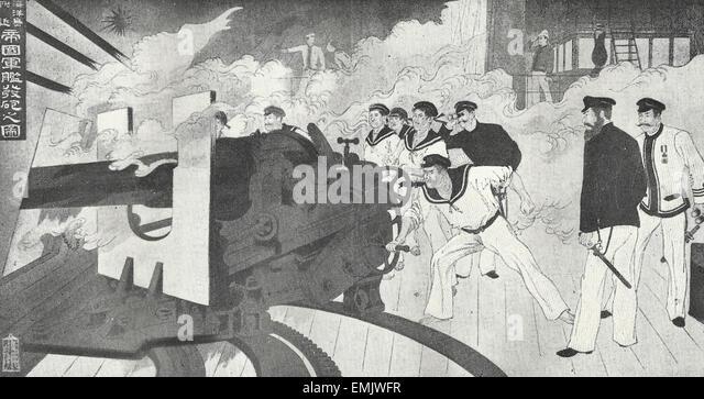 Szene auf japanischen Mann des Krieges, 1800 s Stockbild