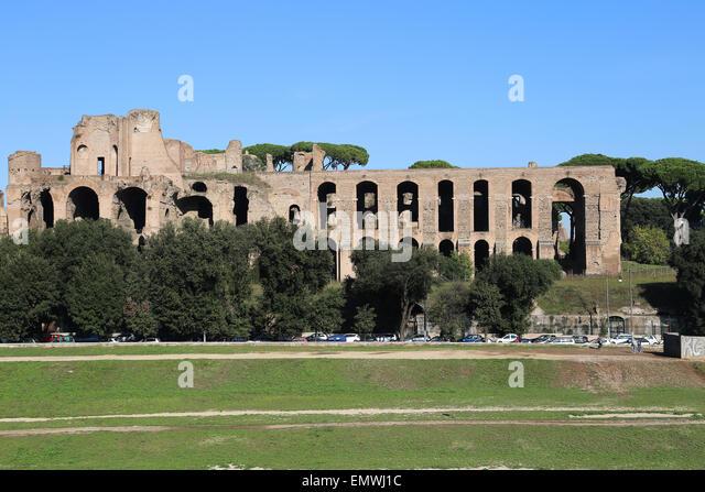 Italien. Rom. Circus Maximus. Antike römische Streitwagen-Rennen-Stadion. Ansicht. Die Ruinen. Stockbild