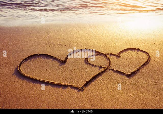 Valentinstag am Strand Stockbild