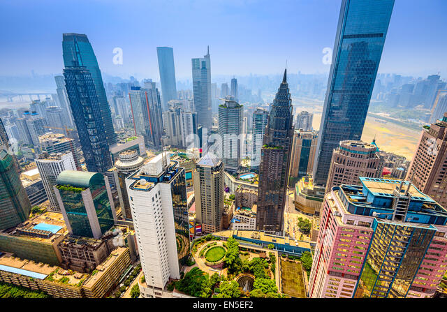 Chongqing, China Wolkenkratzer Stadtbild. Stockbild