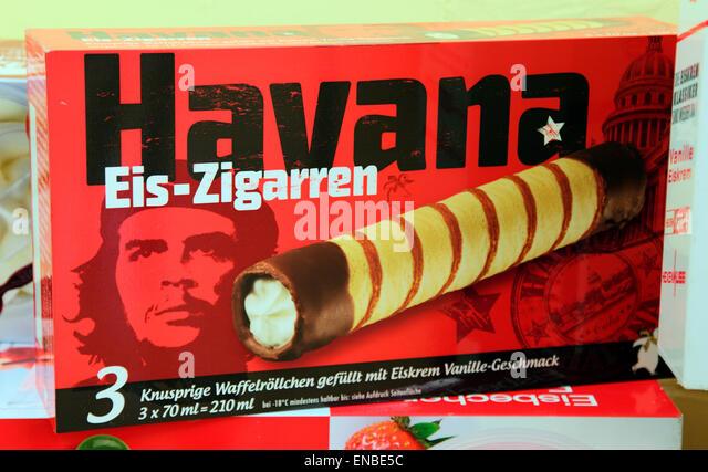 Jim Fitzgeralds ikonische Bild von Che Guevara auf deutsche Verpackung. Stockbild