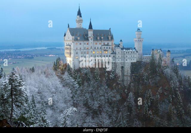 Schloss Neuschwanstein in Winter, Füssen, Bayern, Deutschland, Europa Stockbild