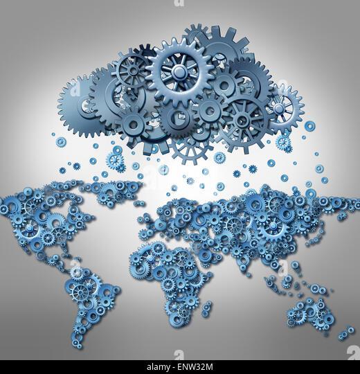 Cloud computing-Konzept und globales Internet-Technologie-Symbol als Weltkarte der Maschine Zahnräder und eine Stockbild