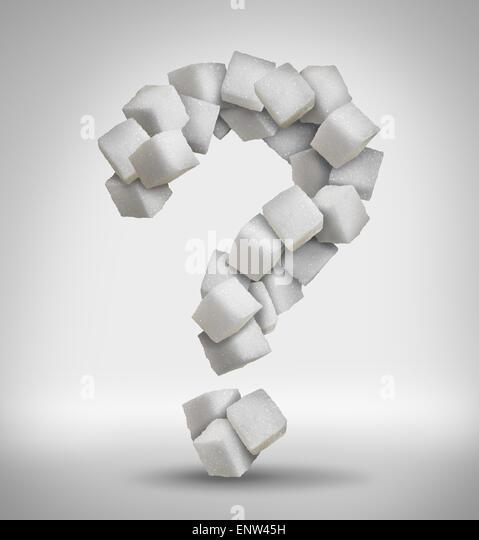 Zucker Fragen Konzept süße Lebensmittelzutaten mit einer engen von einem Haufen von köstlichen weißen Stockbild