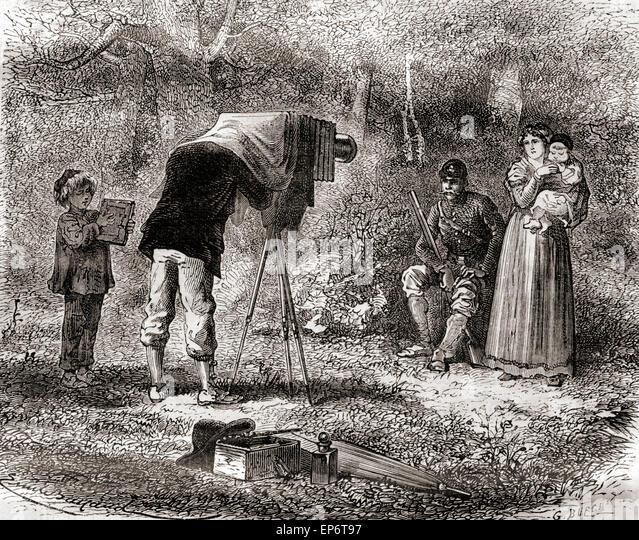 Fotografie im 19. Jahrhundert. Stockbild
