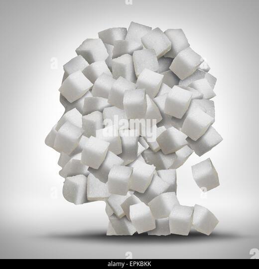 Zucker-sucht-Konzept als ein menschlicher Kopf aus weißen granulierten raffinierten süße Würfel Stockbild