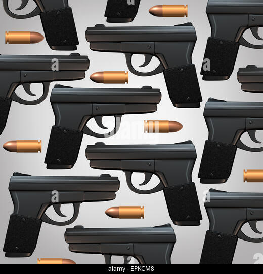 Pistole und Kugel Hintergrund für soziale Rechtsfragen und Waffe Gesetze Konzept als Generikum drei dimensionale Stockbild