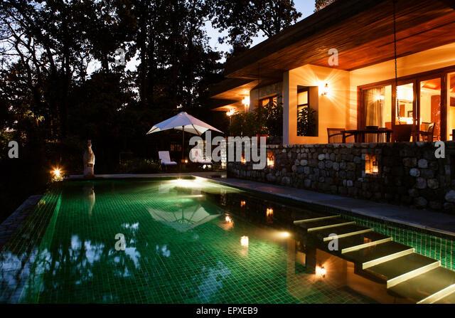 Außenseite der Shivalik Doppel Zimmer Poolvilla, Ananda im Himalaya, Palast Estate, Narendra Nagar, Tehri Garhwal, Stockbild