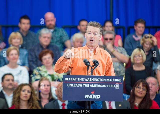 Republikanische Präsidentschaftskandidat spricht US-Senator Rand Paul während einer Kundgebung in Las Stockbild