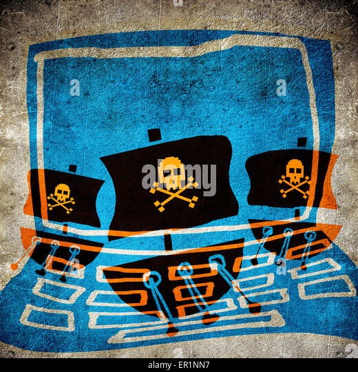 Computer Piraten Konzept digitale illustration Stockbild
