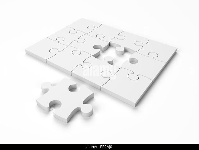 Jigsaw Puzzle Monochrom auf weißem Hintergrund mit Beschneidungspfad Stockbild