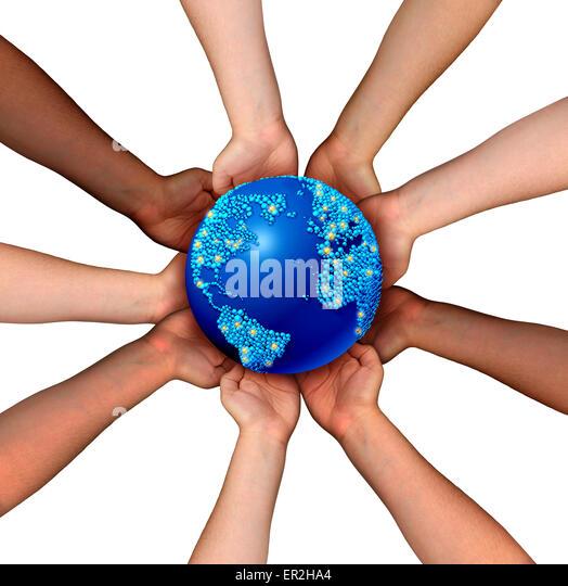 Globale Zusammenhänge und Globalisierung-Konzept als eine angeschlossene Business-Netzwerk von multiethnischen Stockbild