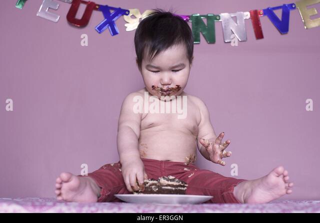 Baby Geburtstagskuchen Essen Stockbild