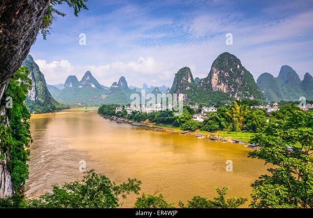 Guilin, China auf dem Li-Fluss. Stockbild