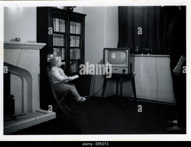 Vintage TV, England.  1950er Jahre Stockbild
