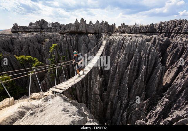 Hängebrücke in Tsingy de Bemaraha Nationalpark, Mahajanga, Madagaskar, Afrika Stockbild