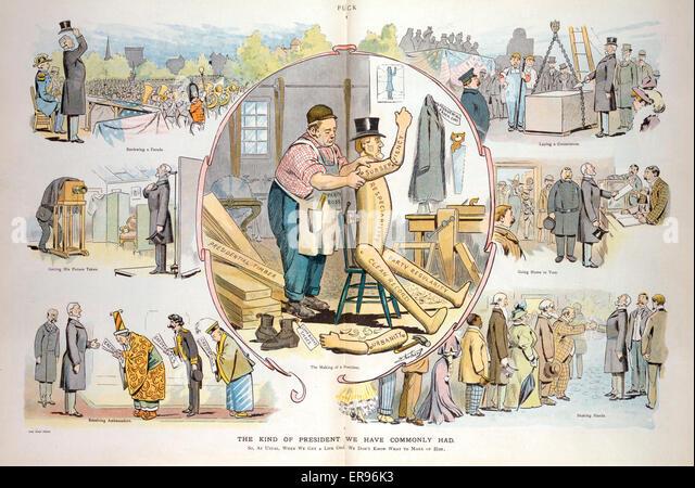 Die Art des Präsidenten, die wir gemeinsam hatten. Abbildung zeigt eine Vignette cartoon mit einem Partei-Chef Stockbild