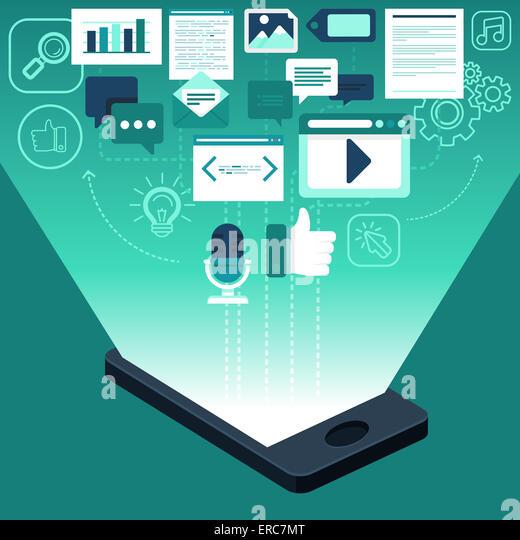 App-Entwicklung und digitale marketing-Konzept im flachen Stil - Infografiken und Symbole Stockbild