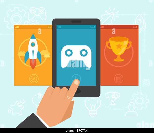Gamification-Konzept - digitales Gerät mit Touchscreen und Spiel-Interface drauf mit Preis und Leistung Symbole Stockbild