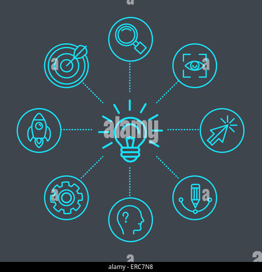 Innovationskonzept in linearen Stil - Glühbirne und Infgraphics design-Elemente und Symbole Stockbild