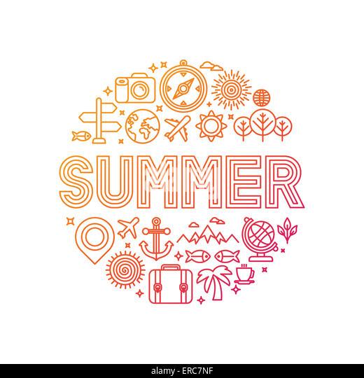 Schriftzug mit linearen Symbole und Zeichen im Sommer - Reisen und Urlaub Konzept Stockbild