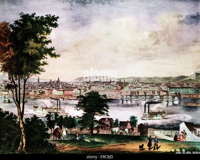1800 S ANSICHT VON CINCINNATI IN OHIO RIVER - Stock-Bilder