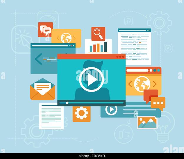 E-Learning-Konzepts im flachen Stil - digitale Inhalte und Online-Webinar-Symbole Stockbild