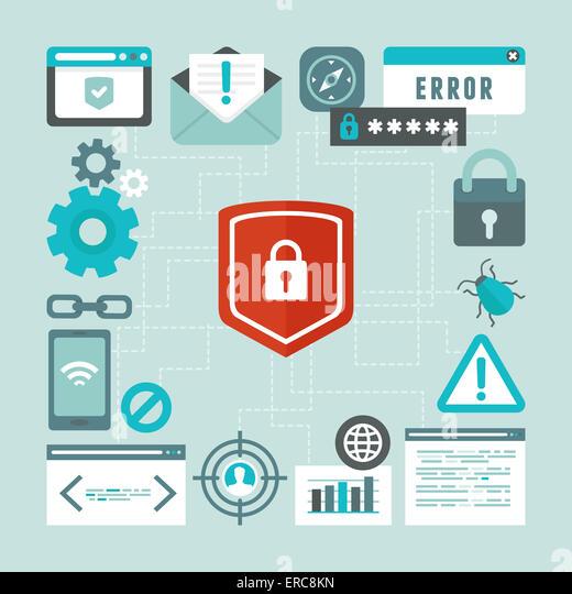 Internet- und Security-Konzept im flachen Stil - Infografiken design-Elemente und Symbole Stockbild