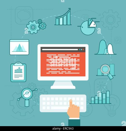 Analytics Datenkonzept im flachen Stil - big-Data-Entwicklung Stockbild