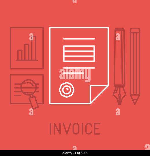 Rechnung-Konzept im Umriss-Stil - Ikone Bill mit Stempel bezahlt Stockbild