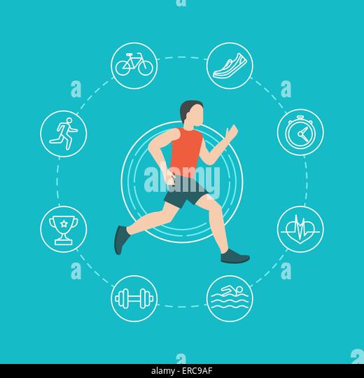 Laufen und Joggen Infografiken Konzept im flachen Stil mit linearen Symbole Stockbild