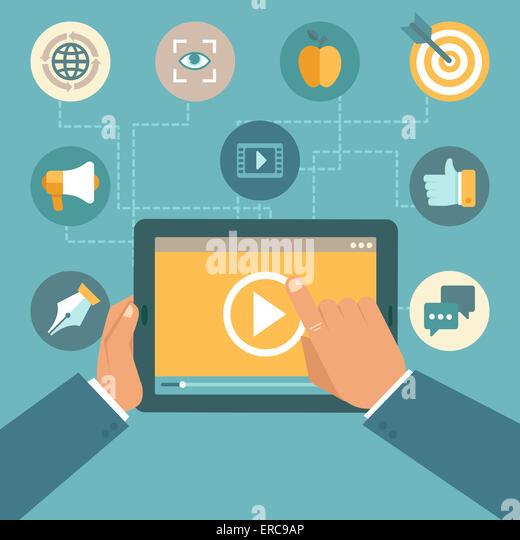 Video Marketing-Konzept im flachen Stil - video-Player auf dem Bildschirm des TabletPC - Infografiken design element Stockbild