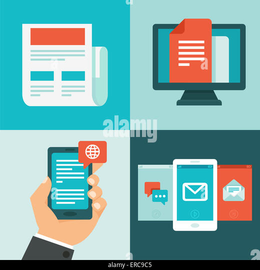 Vektor-Newsletter-Konzept im flachen Stil - News, Updates und Nachrichten Stockbild