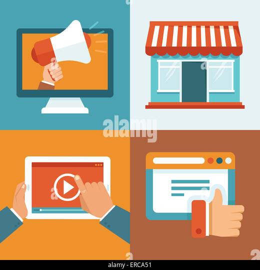 Digital marketing-Konzepte in flachen Stil - Infografiken und Symbole - online-digitale Medien Stockbild