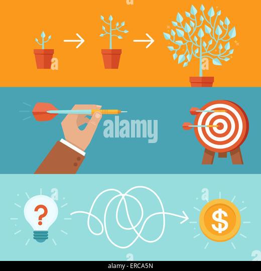Verwirklichung und Umsetzung Konzepte im flachen Stil - Ziele und Erfolg abstrakte Abbildungen Stockbild