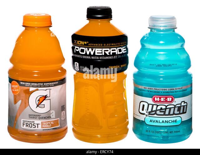 Elektrolyt-Getränke (Powerade, Gatorade und Quench) Stockbild