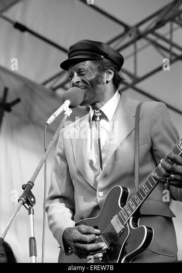 Chuck Berry auf dem Capital Radio Jazz Festival in Knebworth, England, im Juli 1981 durchführen. CB: Amerikanischer Stockbild