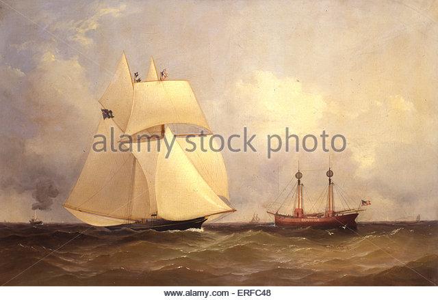Cambria an Sandy Hook nach Transatlantic Race, 1870. Unbekannter Künstler. Mit freundlicher Genehmigung von Stockbild