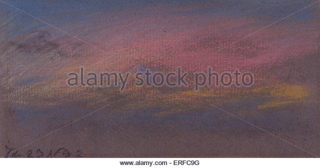 """Himmel-Effekte nach Krakatau, 23. Februar 1884, """"bündig stieg"""". Pastell von William Ascroft. Mit Stockbild"""
