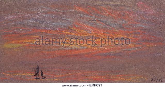 Himmel-Effekte nach Krakatau, 3. Oktober 1884. Pastell von William Ascroft. Mit freundlicher Genehmigung von das Stockbild