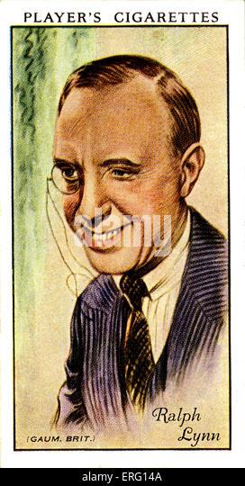 Ralph Lynn, britischer Theater- und Schauspieler. 8. März 1882 - 8. August 1962. (Zigarette Spielerkarte). Stockbild