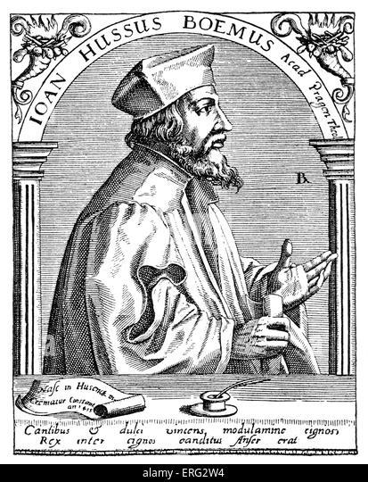 John / Jan Huss.  Tschechische katholischer Priester, Reformator und akademischen 1372-6 Juli 1415. Stockbild