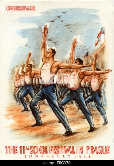 Die 11. Sokol Festival, ein Jugendsport und Gymnastik Festival, das in Prag Juni - Juli 1948.  Sokol - Falken auf Stockbild